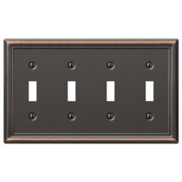 Chelsea Aged Bronze Steel - 4 Toggle Wallplate - Wallplate Warehouse
