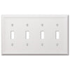 Chelsea White Steel - 4 Toggle Wallplate