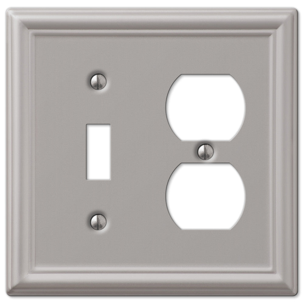 Chelsea Brushed Nickel Steel - 1 Toggle / 1 Duplex Outlet Wallplate - Wallplate Warehouse