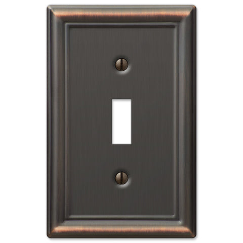 Chelsea Aged Bronze Steel - 1 Toggle Wallplate - Wallplate Warehouse