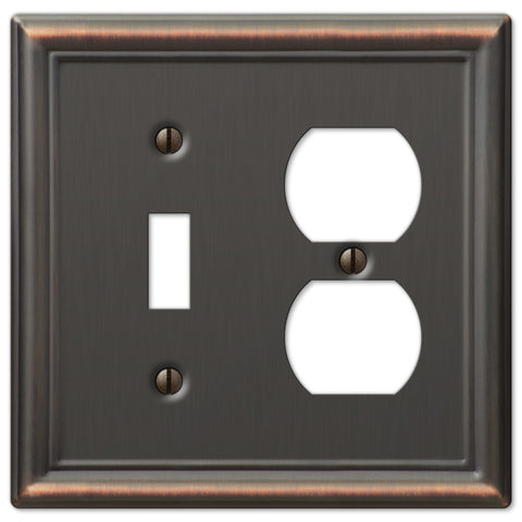 Chelsea Aged Bronze Steel - 1 Toggle / 1 Duplex Outlet Wallplate - Wallplate Warehouse
