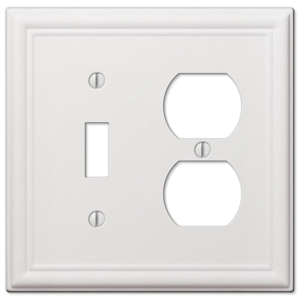 Chelsea White Steel - 1 Toggle/ 1 Duplex Outlet Wallplate