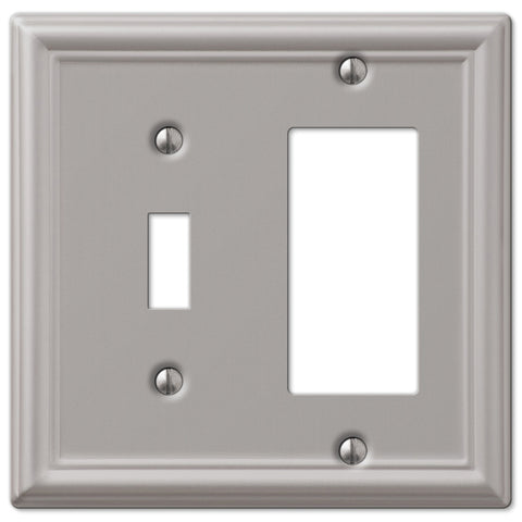 Chelsea Brushed Nickel Steel - 1 Toggle / 1 Rocker Wallplate - Wallplate Warehouse