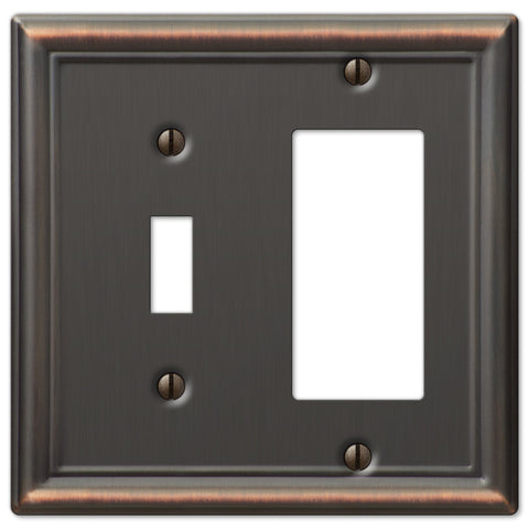 Chelsea Aged Bronze Steel - 1 Toggle / 1 Rocker Wallplate - Wallplate Warehouse