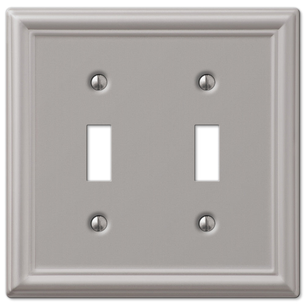 Chelsea Brushed Nickel Steel - 2 Toggle Wallplate - Wallplate Warehouse