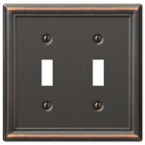 Chelsea Aged Bronze Steel - 2 Toggle Wallplate - Wallplate Warehouse