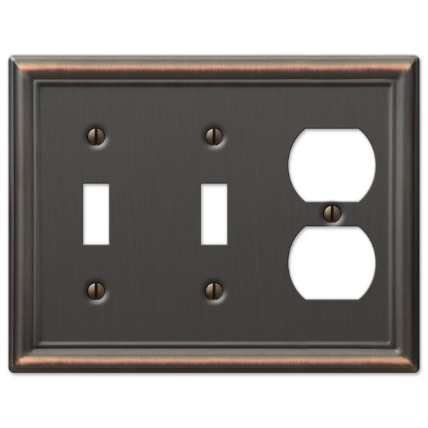 Chelsea Aged Bronze Steel - 2 Toggle / 1 Duplex Outlet Wallplate - Wallplate Warehouse