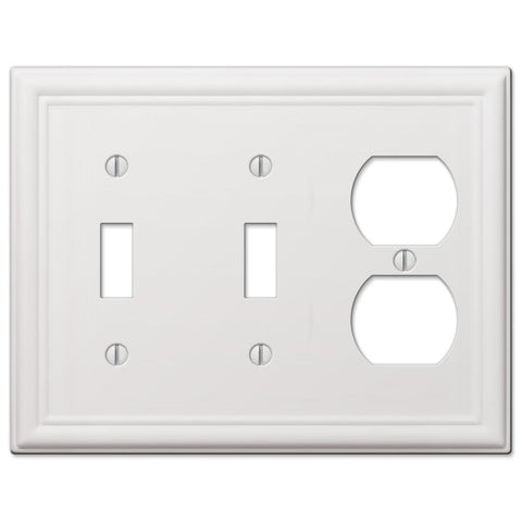 Chelsea White Steel - 2 Toggle/ 1 Duplex Outlet Wallplate