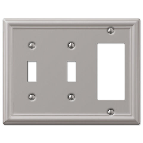 Chelsea Brushed Nickel Steel - 2 Toggle / 1 Rocker Wallplate - Wallplate Warehouse