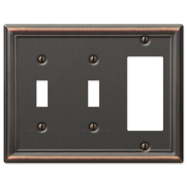 Chelsea Aged Bronze Steel - 2 Toggle / 1 Rocker Wallplate - Wallplate Warehouse