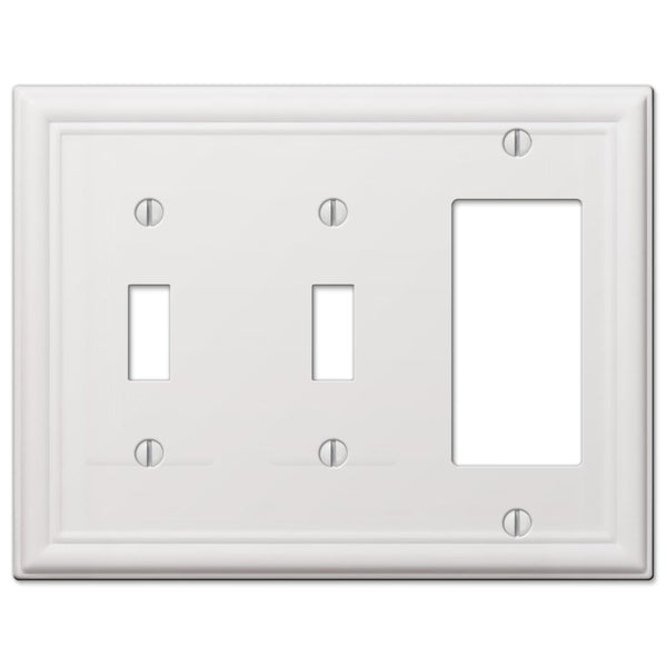 Chelsea White Steel - 2 Toggle/ 1 Rocker Wallplate