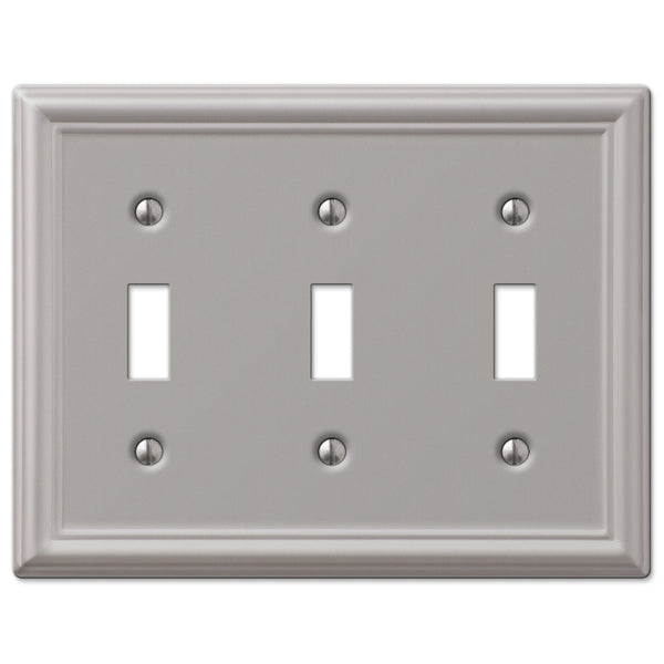 Chelsea Brushed Nickel Steel - 3 Toggle Wallplate - Wallplate Warehouse
