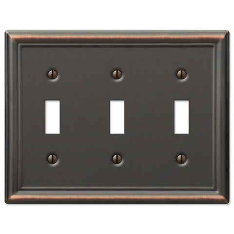 Chelsea Aged Bronze Steel - 3 Toggle Wallplate - Wallplate Warehouse