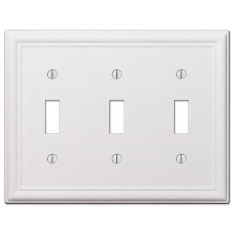 Chelsea White Steel - 3 Toggle Wallplate