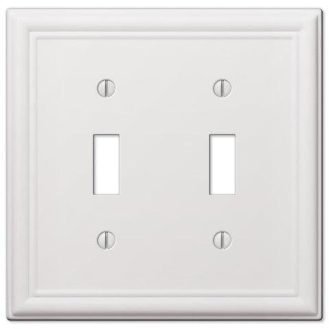 Chelsea White Steel - 2 Toggle Wallplate