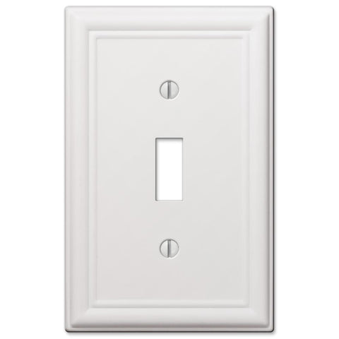 Chelsea White Steel - 1 Toggle Wallplate