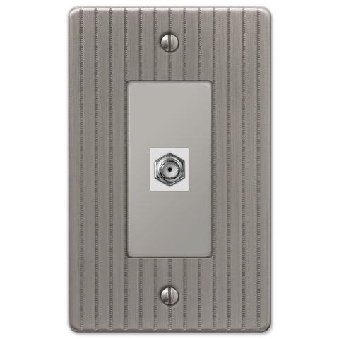 Ebossed Line Antique Nickel Steel - 1 Cable Jack Wallplate - Wallplate Warehouse