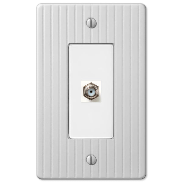 Embossed Line White Steel - 1 Cable Jack Wallplate - Wallplate Warehouse