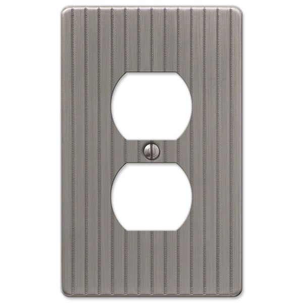 Ebossed Line Antique Nickel Steel - 1 Duplex Outlet Wallplate - Wallplate Warehouse