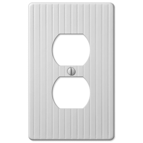 Embossed Line White Steel - 1 Duplex Outlet Wallplate - Wallplate Warehouse