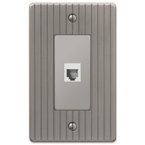 Ebossed Line Antique Nickel Steel - 1 Phone Jack Wallplate - Wallplate Warehouse