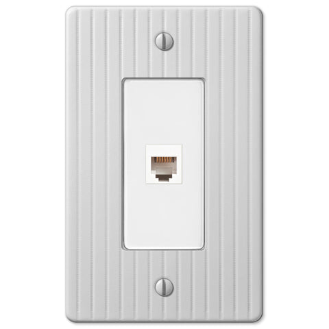 Embossed Line White Steel - 1 Phone Jack Wallplate - Wallplate Warehouse