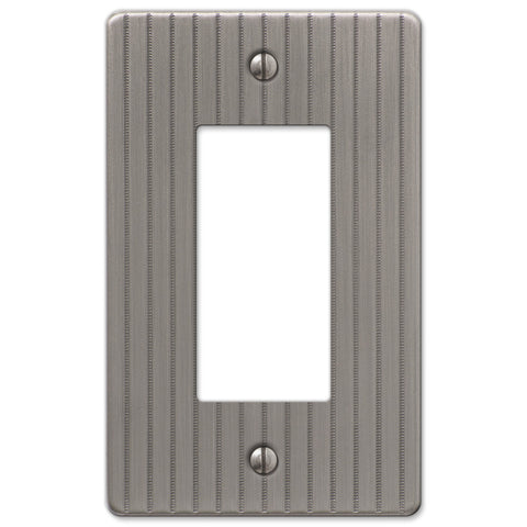 Ebossed Line Antique Nickel Steel - 1 Rocker Wallplate - Wallplate Warehouse
