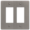Ebossed Line Antique Nickel Steel - 2 Rocker Wallplate - Wallplate Warehouse