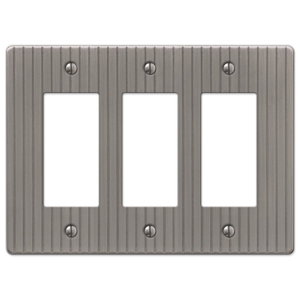 Ebossed Line Antique Nickel Steel - 3 Rocker Wallplate - Wallplate Warehouse