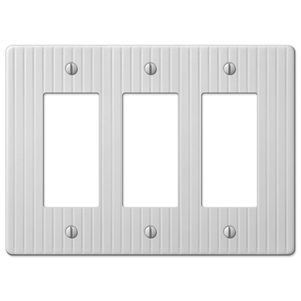 Embossed Line White Steel - 3 Rocker Wallplate - Wallplate Warehouse