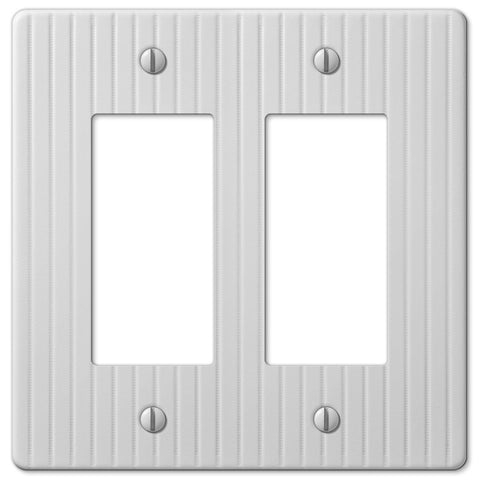 Embossed Line White Steel - 2 Rocker Wallplate - Wallplate Warehouse