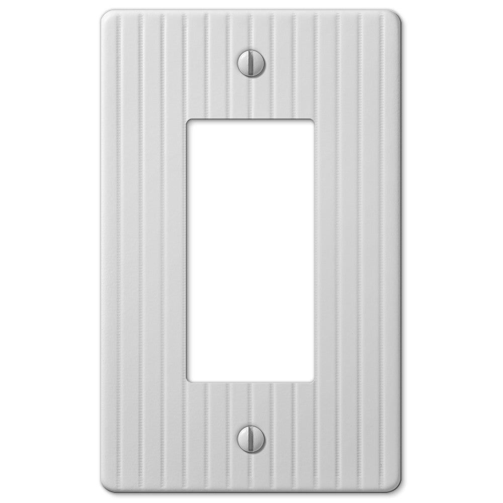 Embossed Line White Steel - 1 Rocker Wallplate - Wallplate Warehouse