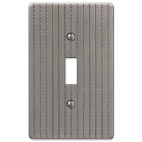 Ebossed Line Antique Nickel Steel - 1 Toggle Wallplate - Wallplate Warehouse