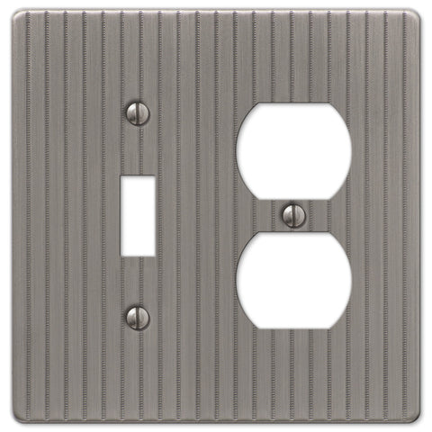 Ebossed Line Antique Nickel Steel - 1 Toggle / 1 Duplex Outlet Wallplate - Wallplate Warehouse