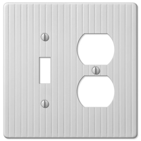 Embossed Line White Steel - 1 Toggle / 1 Duplex Outlet Wallplate - Wallplate Warehouse