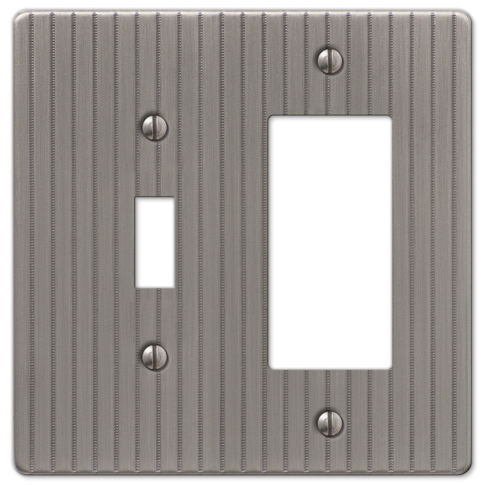 Ebossed Line Antique Nickel Steel - 1 Toggle / 1 Rocker Wallplate - Wallplate Warehouse