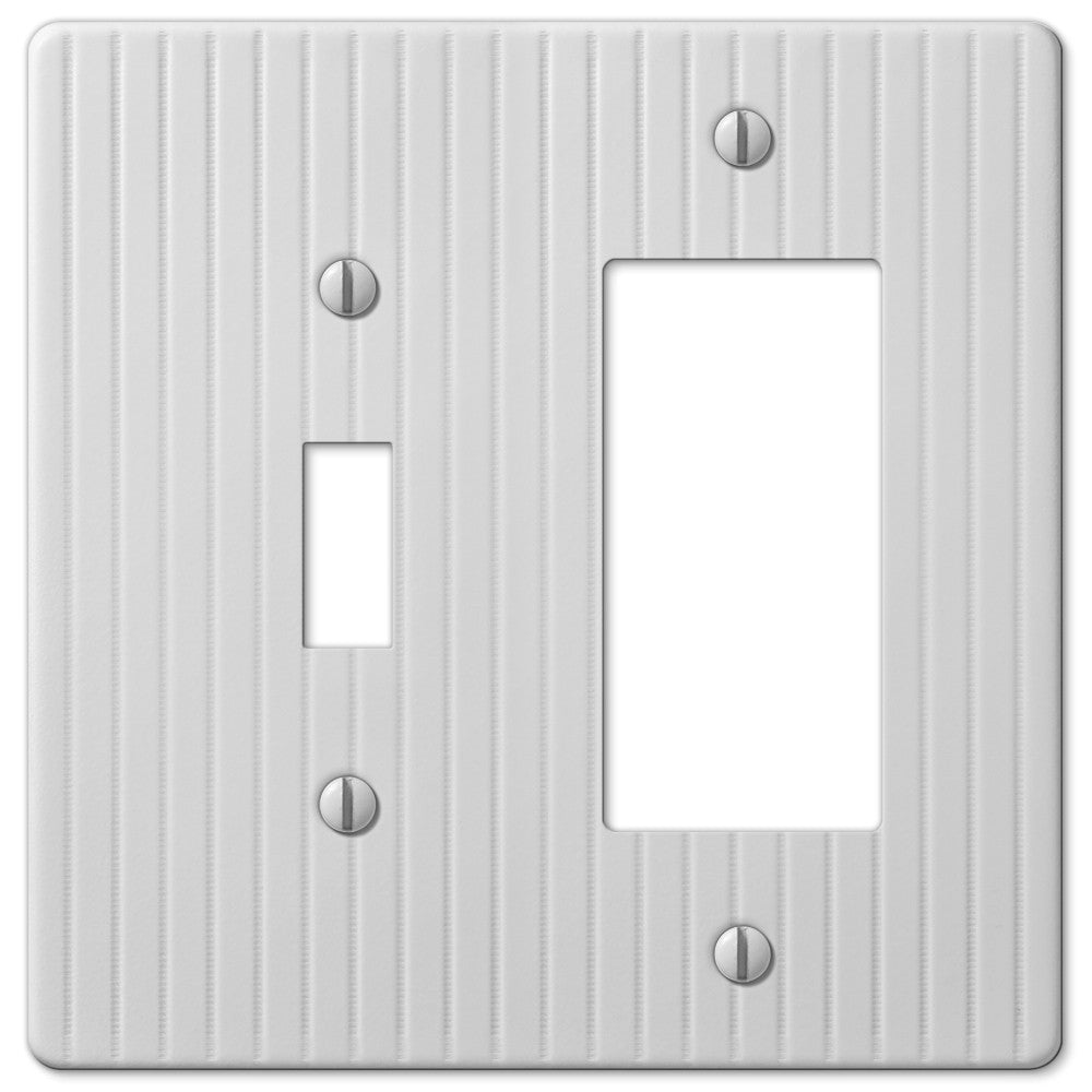 Embossed Line White Steel - 1 Toggle / 1 Rocker Wallplate - Wallplate Warehouse