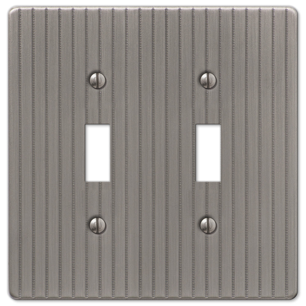 Ebossed Line Antique Nickel Steel - 2 Toggle Wallplate - Wallplate Warehouse