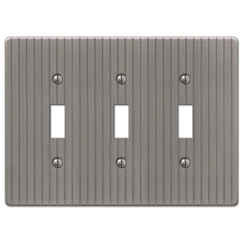 Ebossed Line Antique Nickel Steel - 3 Toggle Wallplate - Wallplate Warehouse