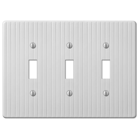 Embossed Line White Steel - 3 Toggle Wallplate - Wallplate Warehouse