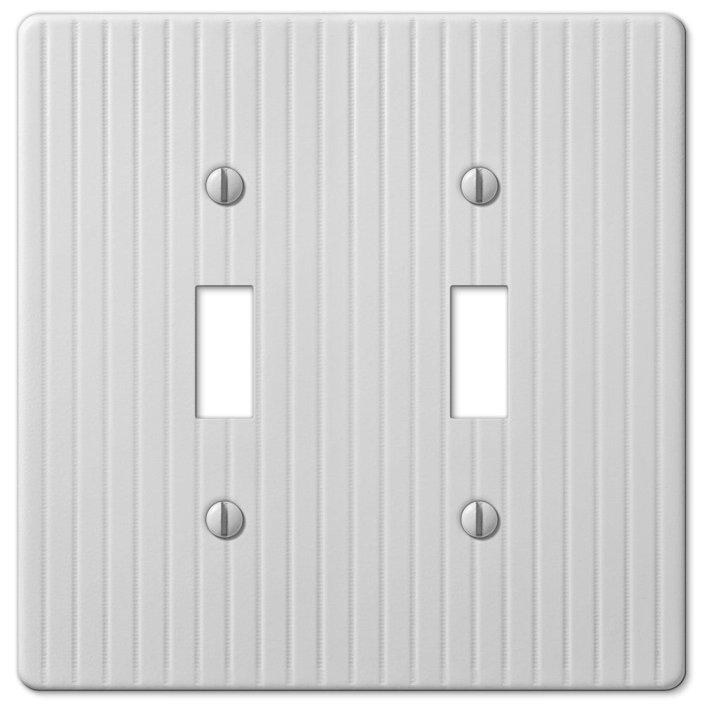 Embossed Line White Steel - 2 Toggle Wallplate - Wallplate Warehouse