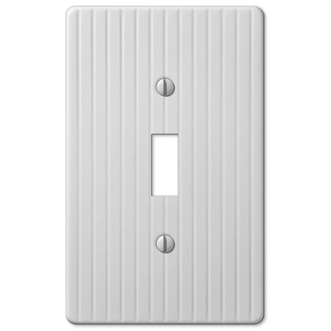 Embossed Line White Steel - 1 Toggle Wallplate - Wallplate Warehouse