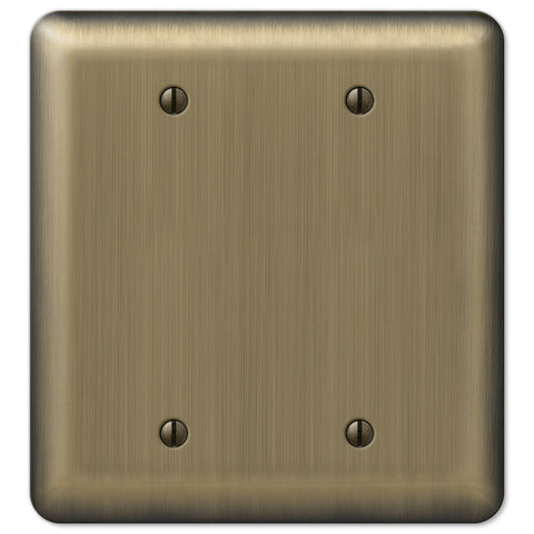 Devon Brushed Brass Steel - 2 Blank Wallplate - Wallplate Warehouse