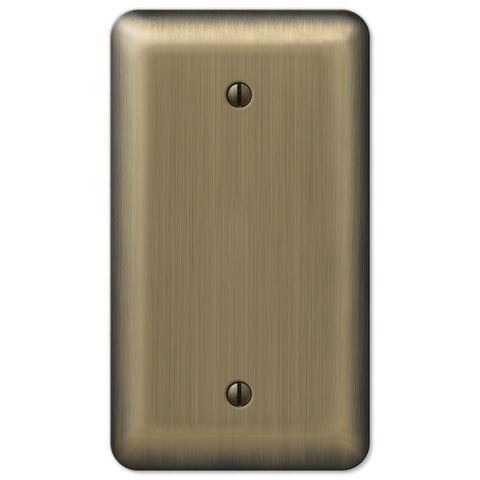Devon Brushed Brass Steel - 1 Blank Wallplate - Wallplate Warehouse