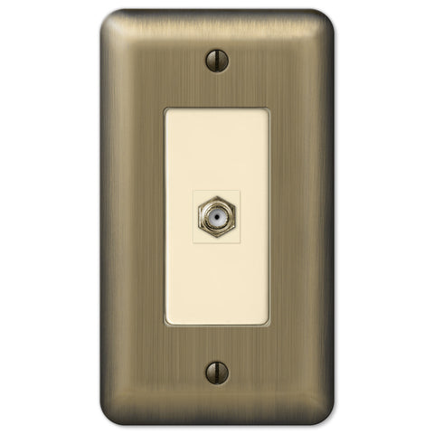 Devon Brushed Brass Steel - 1 Cable Jack Wallplate - Wallplate Warehouse
