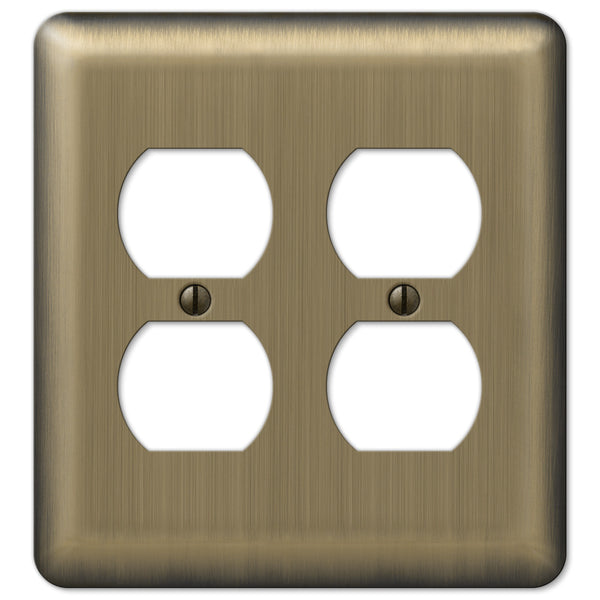 Devon Brushed Brass Steel - 2 Duplex Outlet Wallplate - Wallplate Warehouse