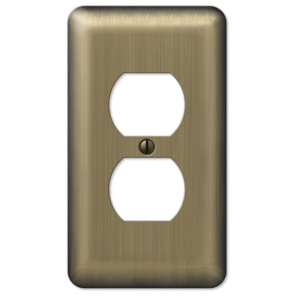 Devon Brushed Brass Steel - 1 Duplex Outlet Wallplate - Wallplate Warehouse
