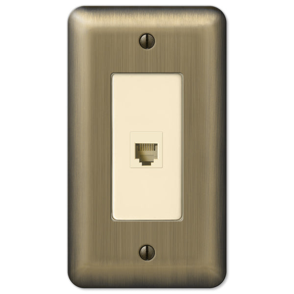 Devon Brushed Brass Steel - 1 Phone Jack Wallplate - Wallplate Warehouse