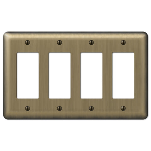 Devon Brushed Brass Steel - 4 Rocker Wallplate - Wallplate Warehouse
