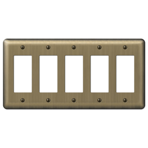Devon Brushed Brass Steel - 5 Rocker Wallplate - Wallplate Warehouse